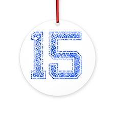 15, Blue, Vintage Round Ornament