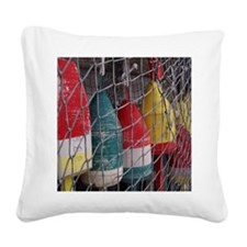 Netted Lobster Buoys Square Canvas Pillow