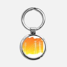 All Over Powerlines design Round Keychain