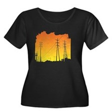 All Over Women's Plus Size Dark Scoop Neck T-Shirt
