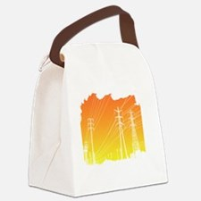 All Over Powerlines design Canvas Lunch Bag