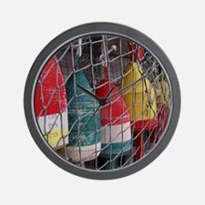 Netted Lobster Buoys Wall Clock