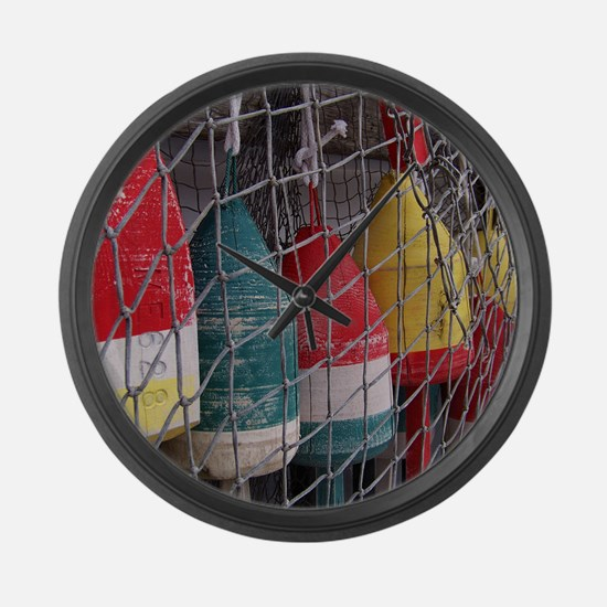 Netted Lobster Buoys Large Wall Clock