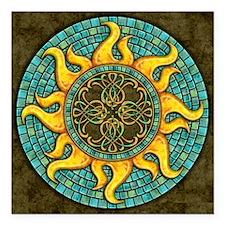 "Mosaic Sun Square Car Magnet 3"" x 3"""