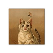 "Bee Careful Kitty Square Sticker 3"" x 3"""