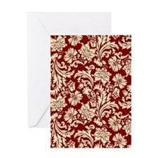 Cream and Scarlet Red Damask Greeting Card