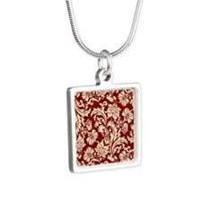 Cream and Scarlet Red Dama Silver Square Necklace