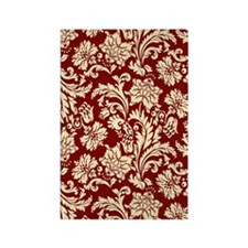 Cream and Scarlet Red Damask Rectangle Magnet