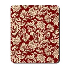 Cream and Scarlet Red Damask Mousepad