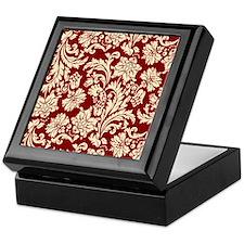 Cream and Scarlet Red Damask Keepsake Box