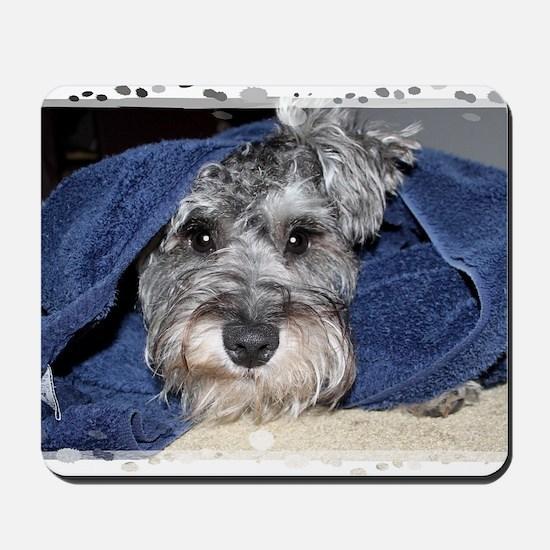 Wolfie after his bath Mousepad