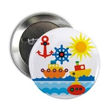 """On The Ocean Blue 2.25"""" Button"""