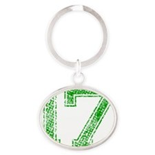17, Green, Vintage Oval Keychain