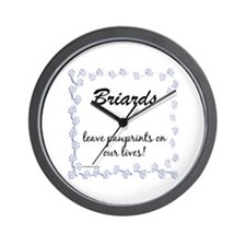 Briard Pawprints Wall Clock