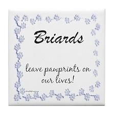 Briard Pawprints Tile Coaster