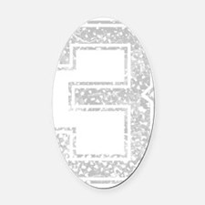 3, Grey, Vintage Oval Car Magnet