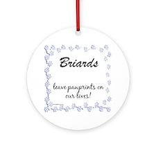Briard Pawprints Ornament (Round)