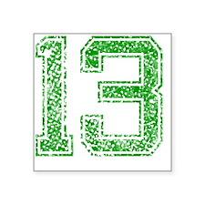 "13, Green, Vintage Square Sticker 3"" x 3"""