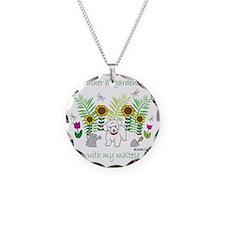 maltese Necklace Circle Charm