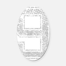 9, Grey, Vintage Oval Car Magnet