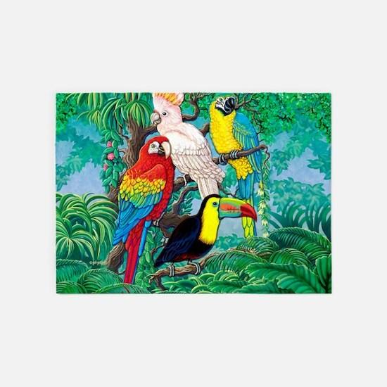 Tropical Birds 37x30 5'x7'Area Rug