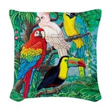 Tropical Birds 37x30 Woven Throw Pillow