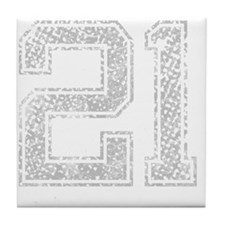 21, Grey, Vintage Tile Coaster