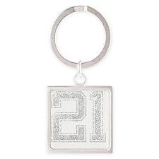 21, Grey, Vintage Square Keychain