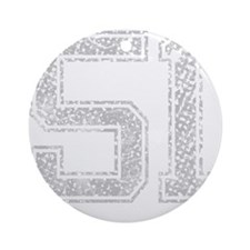 51, Grey, Vintage Round Ornament