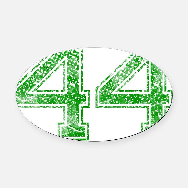 44, Green, Vintage Oval Car Magnet