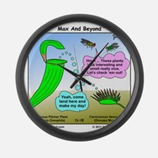 Venus Flytrap and Pitcher Plant C Large Wall Clock