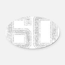 60, Grey, Vintage Oval Car Magnet