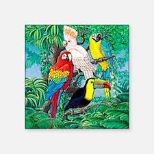 """Tropical Birds 29x27 Square Sticker 3"""" x 3"""""""