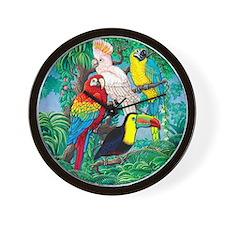 Tropical Birds 29x27 Wall Clock