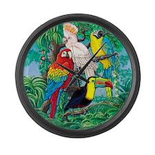 Tropical Birds 29x27 Large Wall Clock