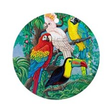 Tropical Birds 29x27 Round Ornament