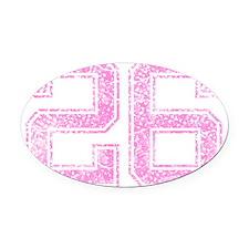 26, Pink Oval Car Magnet