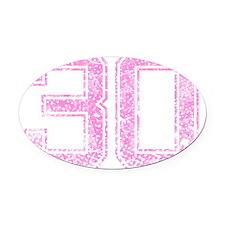 30, Pink Oval Car Magnet