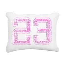 23, Pink Rectangular Canvas Pillow