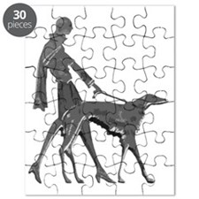 Art Deco Lady With Borzoi Puzzle