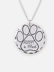 Adopt a friend pawprint Necklace