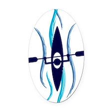 Current Kayak Oval Car Magnet