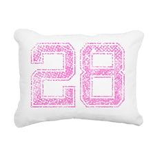 28, Pink Rectangular Canvas Pillow