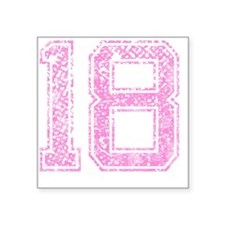 "18, Pink Square Sticker 3"" x 3"""