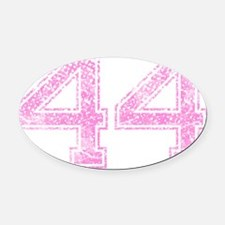 44, Pink Oval Car Magnet
