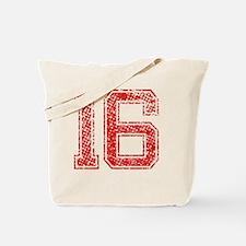 16, Red, Vintage Tote Bag