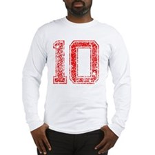 10, Red, Vintage Long Sleeve T-Shirt