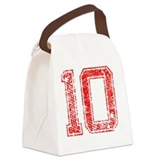 10, Red, Vintage Canvas Lunch Bag