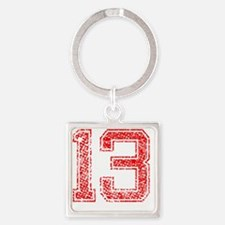 13, Red, Vintage Square Keychain