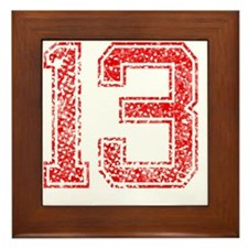 13, Red, Vintage Framed Tile